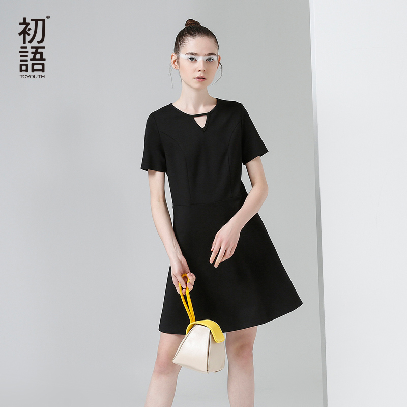 Toyouth New Arrival Dress 2017 Summer Fashion Solid Short Sleeve O Neck A Line Lady Knee