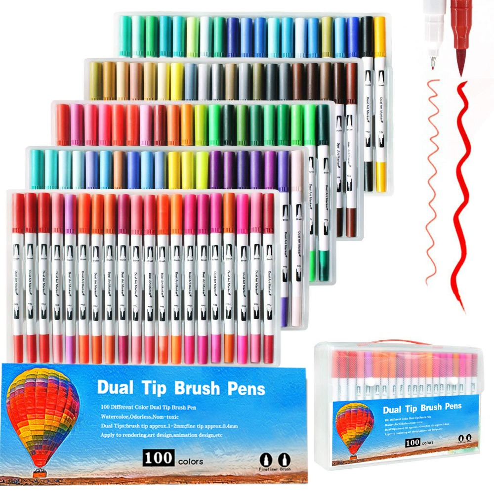 Marcadores para dibujar pluma pintura marcador resaltador doble punta arte marcador acuarela dibujo doble pincel Lápiz Delineador