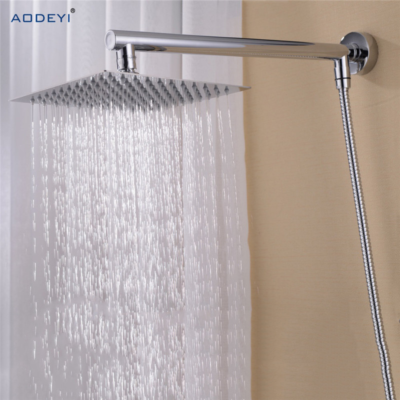 Bathroom Rain Shower Set, Wall Mounted Brass Shower Arm + Square Stainless Steel 8 Shower Head + 150cm Shower Hose bathroom replacement anti twist shower hose 2m flexible stainless steel chrome shower head bathroom water hose y103