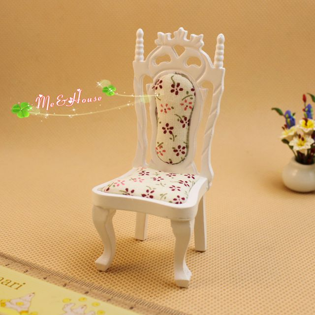 1:12 Dollhouse Miniature Doll Furniture Elegant White Wooden Highback Chair ~
