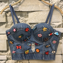 New Cowboy Hole Push Up Denim Bustier Crop Top Womens Ripped Sexy Cropped Feminino Strappy Bralette Bras Camis Tops Cropped