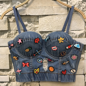 Image 1 - New Cowboy Hole Push Up Denim Bustier Crop Top Womens Ripped Sexy Cropped Feminino Strappy Bralette Bras Camis Tops Cropped