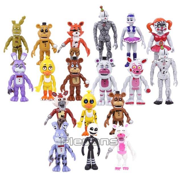 Brinquedos 18 pçs/set Bonnie Foxy das cinco Noites no Freddy Freddy Fazbear Urso PVC Figuras de Ação 18 pçs/set