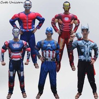 Superhero Batman Ironman Antman Adults Muscle Jumpsuits Mask Avengers Superman Spiderman Captain Onesies Mens Cosplay Costume