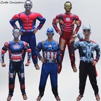 1157db865d Superhéroe Batman Ironman Antman adultos músculo monos máscara vengadores Superman  Spiderman capitán Onesies para Cosplay traje