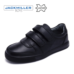 Jackmillerboys School Students Shoes classic genuine Leather Children Shoes For Boys Dress Shoes Black hook loop flat size 32-37