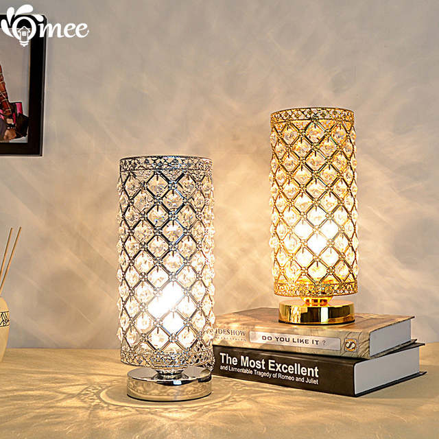 Modern Small Crystal Table Lamps Brief Bedroom Bedside Desk Lamp Light K9 Night
