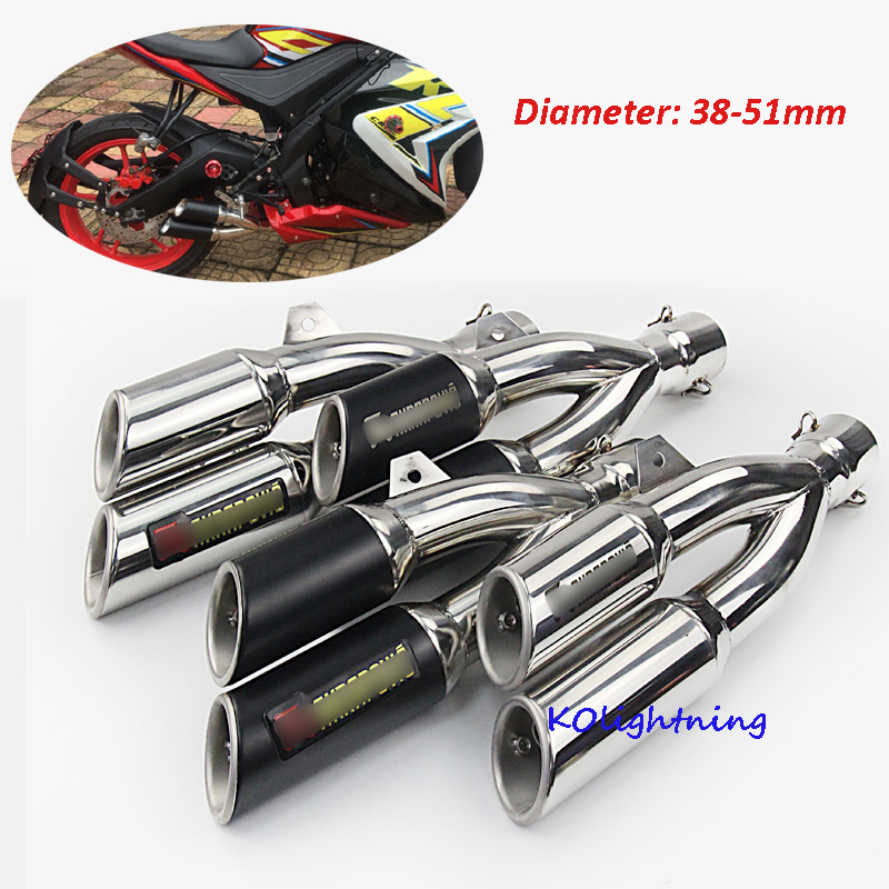 Motorcycle Exhaust Muffler Dual Outlet Exhaust System Pipe Universal Exhaust Thunderbolt Pipe Slip 51mm Dirt Bike ATV