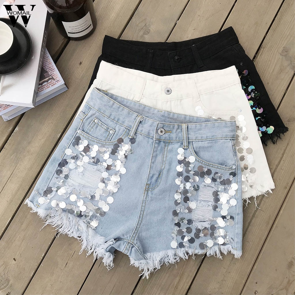Womail Short Women Summer Sequin Denim Shorts For Female 2019 Slim Casual Womens High Waist Mini Shorts NEW M516