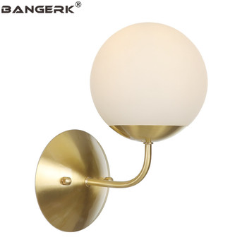 Lámpara de pared LED de cristal Circular moderna estilo desván luces de pared de cobre cabecera decoración del hogar accesorios de iluminación de interior wandlamp