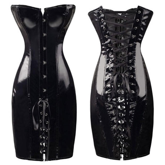 FeelinGirl 2018 Black Long Leather Corset Sexy Gothic Corset Dress Shiny PVC Leather Boned Bustier top Lace Clubwear Corselet -B