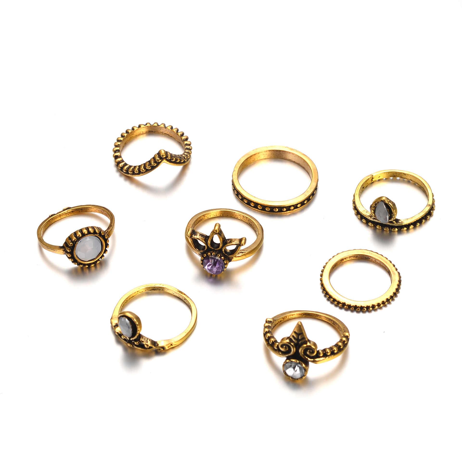 Midiนิ้วแหวนชุดแฟชั่นพังก์ซิลเวอร์โกลด์K Nuckleแหวนสำหรับผู้หญิงหญิงBohoเครื่องประดับวินเทจBagueเด็กหญิง