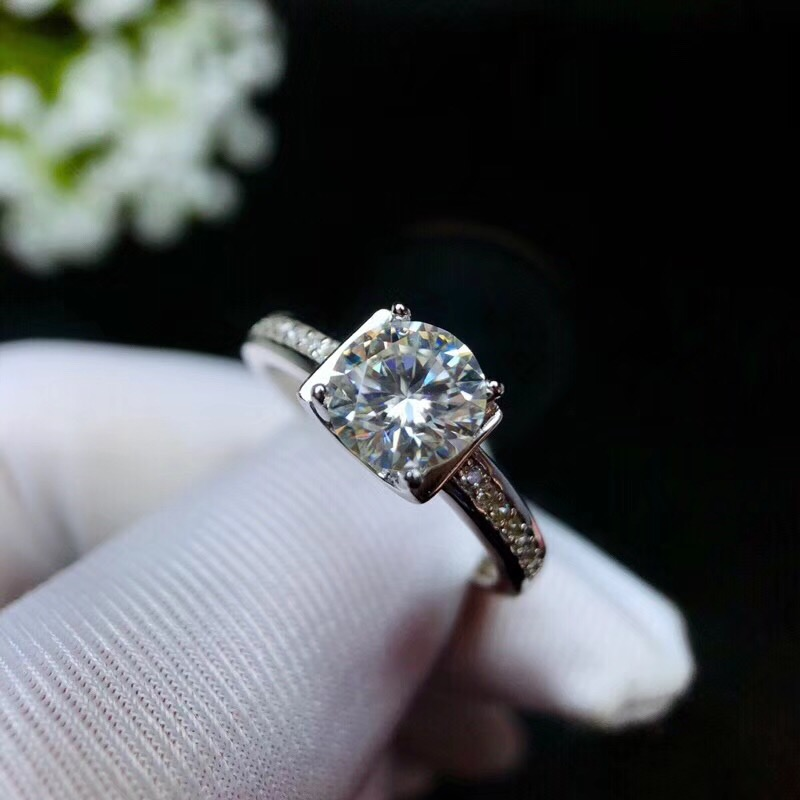 Moissanite, 925 design de moda Prata, cor de fogo forte, diamante, alta dureza 1.2ct - 6