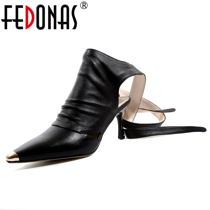 FEDONAS Women Pumps Sexy Fashion Motorcyle Boots Genuine Leather Spring Summer Party Night Club Lace Up