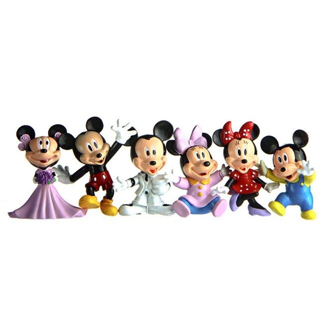 6pcs/lot Wedding Style Mickey & Minnie Figures PVC Action Figure ...