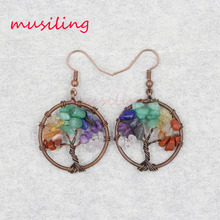 Vintage copper Life Tree Dangle Earrings Long Drop Earring Jewelry For Women Crystal etc Gem Stone Fashion Charms 10Pairs life etc