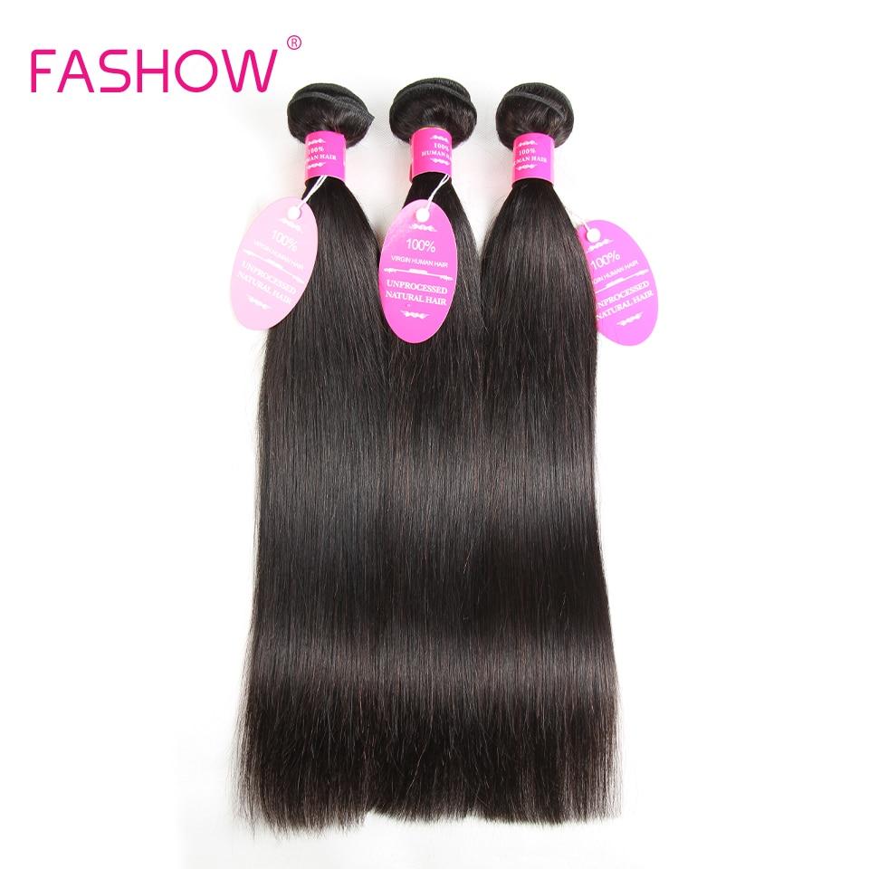 Fashow Brazilian Straight Hair 3 Bundles 100% Human Hair Weave Bundles Non Remy Hair Extensions Natural Color