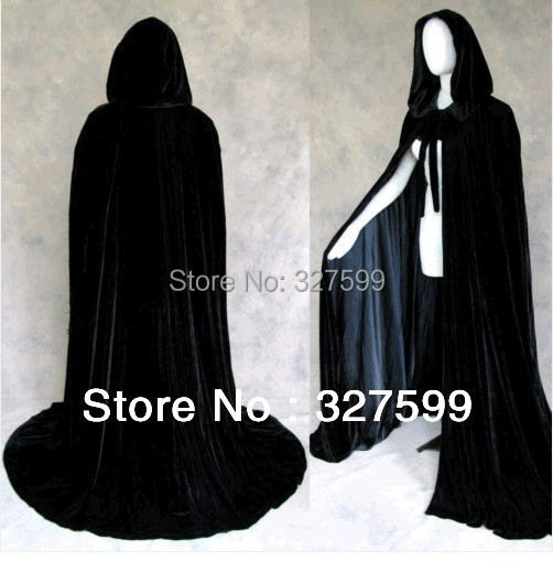 Details about  /2020 Gothic Hooded Velvet Cloak Gothic Wicca Robe Medieval Witchcraft Larp Cape