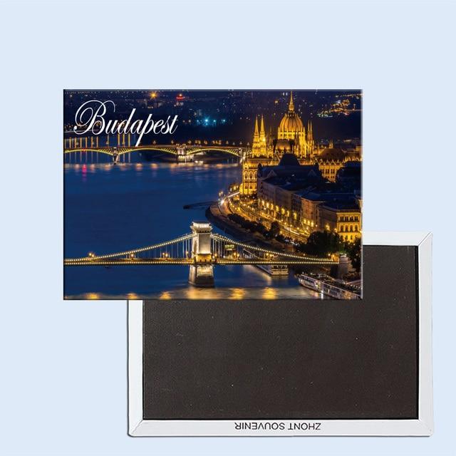 עיר יפה לילה בבודפשט הונגריה מזכרות 24248 מקרר מגנטים