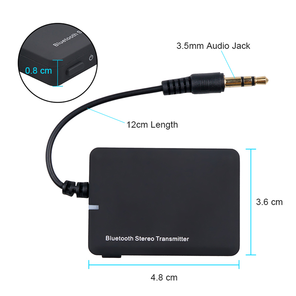 Wireless Bluetooth Transmitter Audio Receiver 3.5mm AUX Jack A2DP Stereo Dongle Adapter For