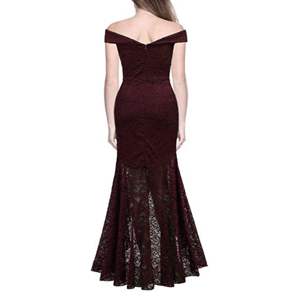 Court avant longue dos fête formelle dentelle robes 2019 Slash cou dentelle femmes robe rouge foncé bleu haut bas robe Vestidos De Novia - 4