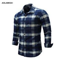 Aolamegs men plaid shirt long sleeve mens dress shirt fashion business casual style shirts 2017 new.jpg 250x250