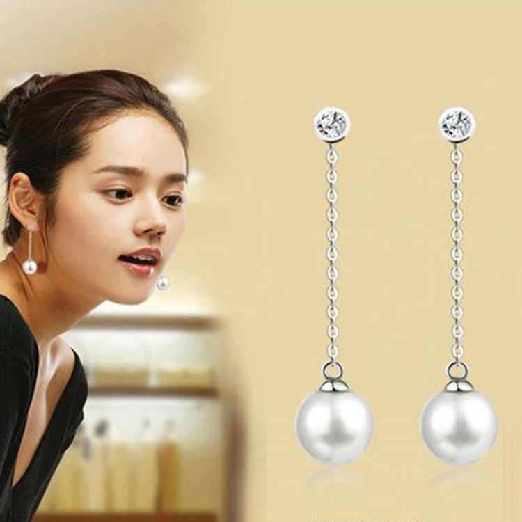New Fashion Long Chain Imitation Pearl Earrings Rhinestone Ball Tassel Dangle Drop Silver Jewelry Brinco Pendientes For Women