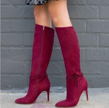 Hot Selling Red Suede Women Knee High Boots Pointed Toe Side Zipper Thin Heels Tight Quality Runway