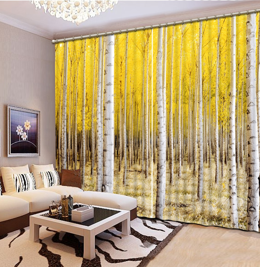forest curtains Scenery Beauty Digital Photo Printing Blackout 3D Curtains for Living Room Bedding Room tree curtain in Curtains from Home Garden