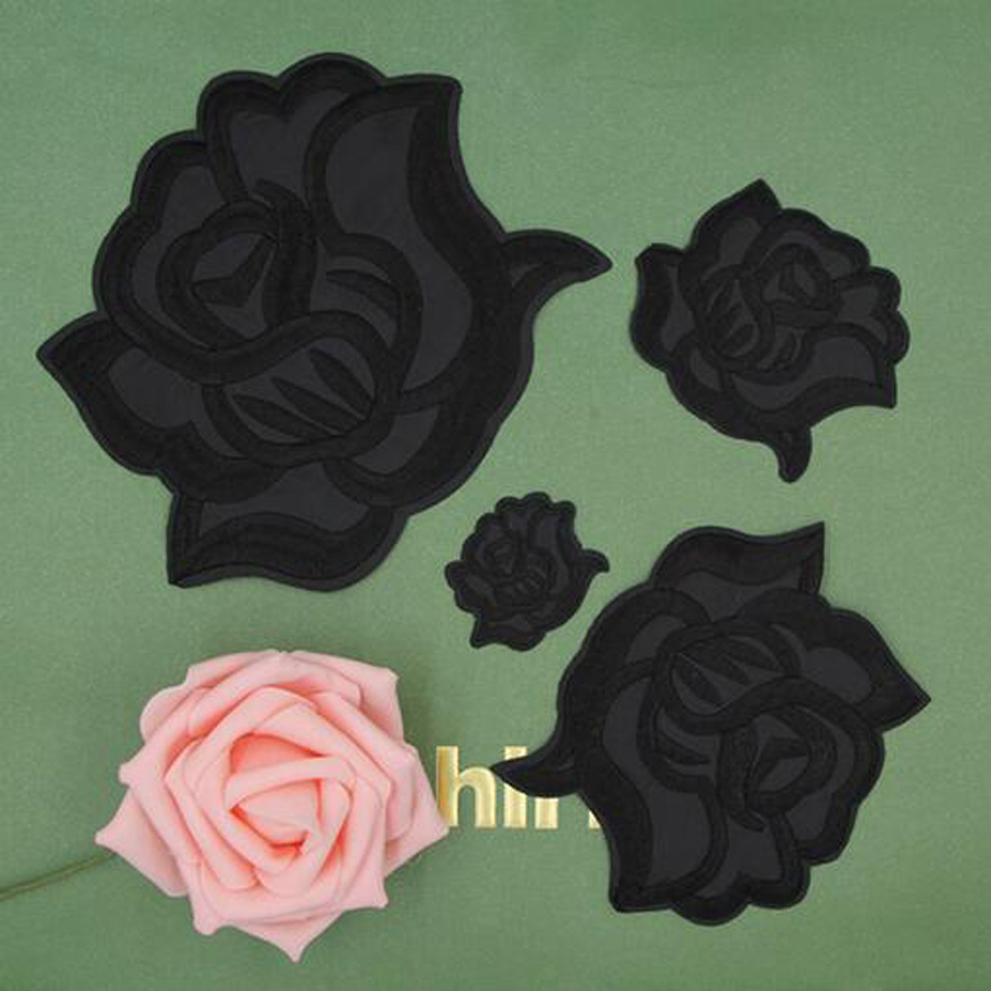 Fabric Embroidered Black Rose Flower Patch Clothes Stickers Bag Sew Iron On Applique DIY Apparel Sewing Clothing Accessories B40