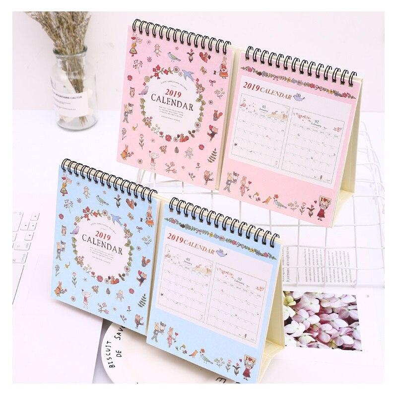 Office & School Supplies 2019 Kreative Tier Partei Doppel Schreibtisch Kalender Diy Tisch Kalender Täglichen Zeitplan Planer 2018,09 ~ 2019,12 100% Original Kalender