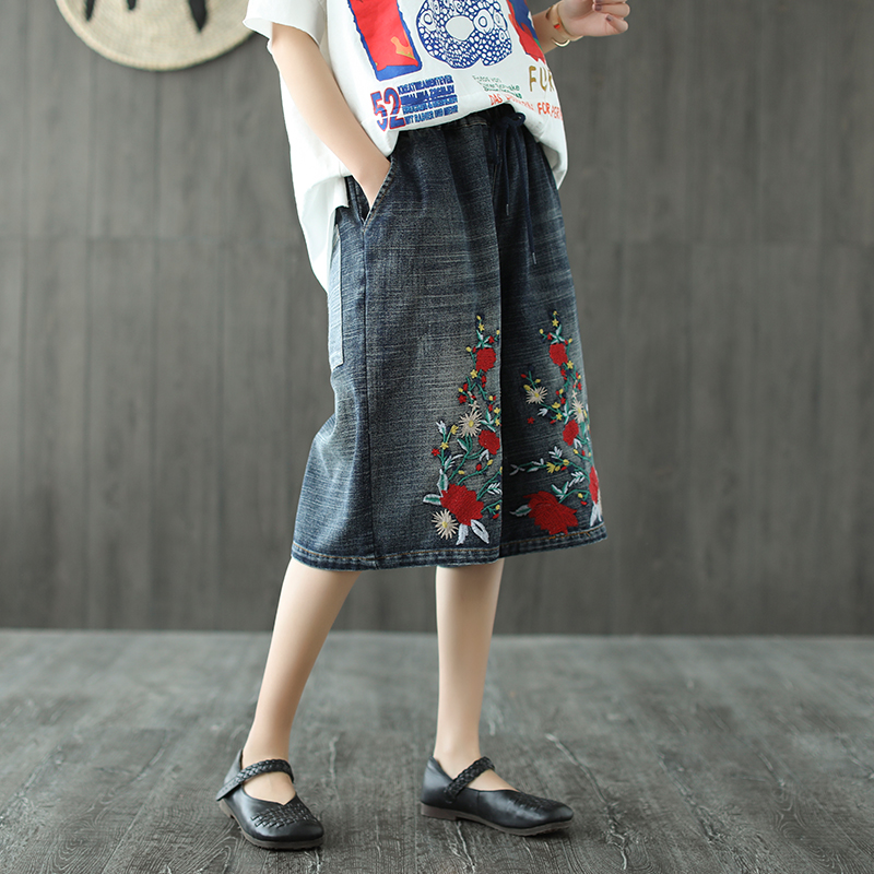 Retro embroidery slim denim knee length pants wide leg pants jeans 2018 summer mori girl