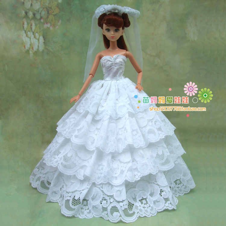 free transport full round white brided gown with veil for barbie doll marriage ceremony gown