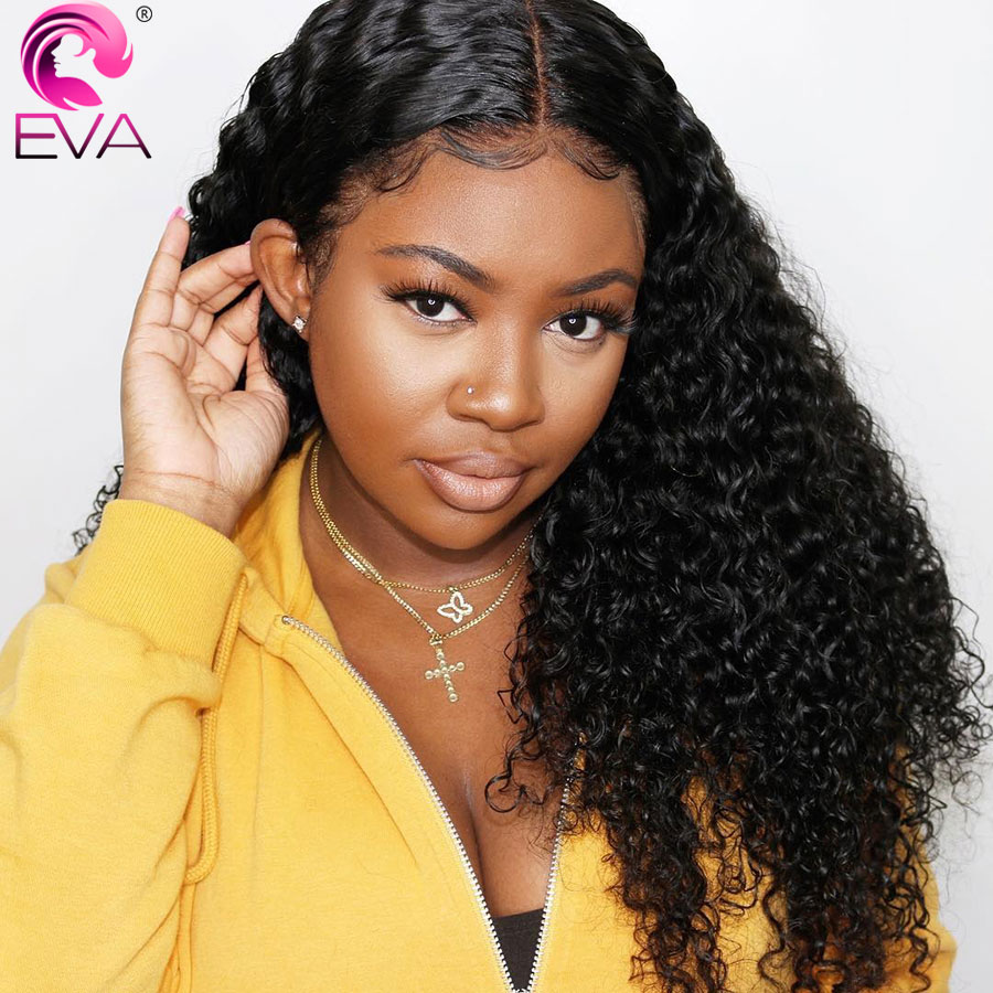 Eva Hair Glueless Full Lace Human Hair Wigs Pre Plucked Hairline With Baby Hair Curly Brazilian Remy Hair Wig For Black Women