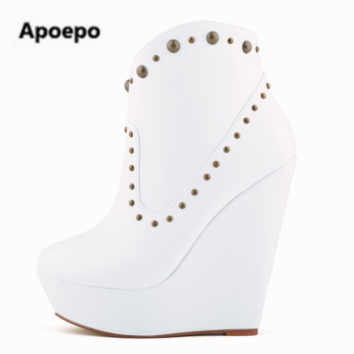 Newest brand shoes sexy platform shoes women rivet wedges shoes boots women 14 cm high heels boots women red beige ankle boots apoepo brand shoes punk style rivet ankle boots for women lace up high heels shoes women boots sexy platform shoes with heels