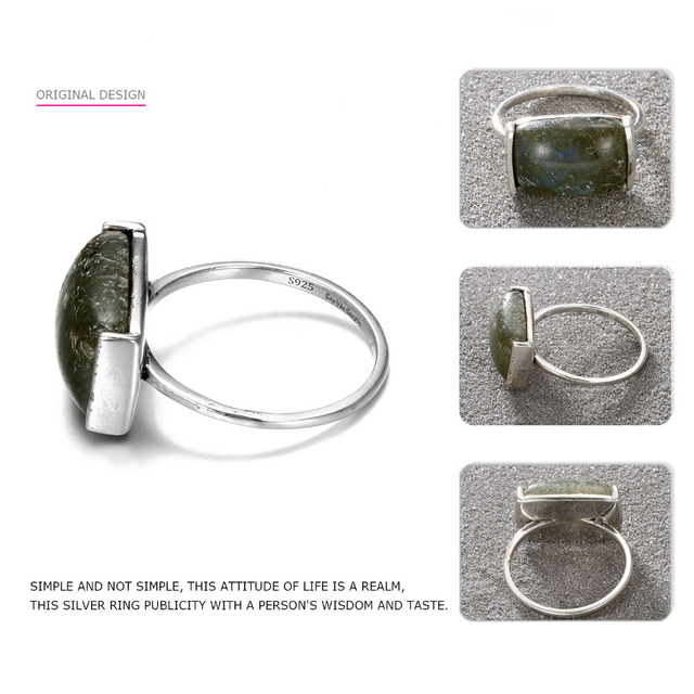 Say You Say Me Big Natural Stone Rings 925 Silver Black Rectangle Party Rings For Women Fine Jewelry Simple Trendy Rings