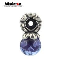 Mistletoe Jewelry Genuine 925 Sterling Silver Murano Glass Flower Stopper Spacer Charm Beads Fit European Troll