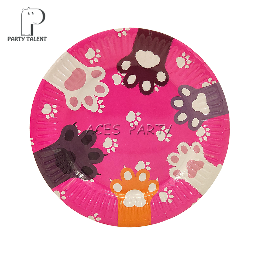 Image 3 - Party supplies 48pcs pet cat footprint party kids birthday party tableware set, 24pcs dessert plates dishes + 24pcs cups glasses-in Disposable Party Tableware from Home & Garden