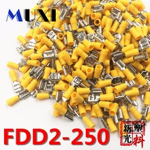 цена на FDD2-250 Female Insulated Electrical Crimp Terminal for 1.5-2.5mm2 Connectors Cable Wire Connector 100PCS/Pack YELLOW