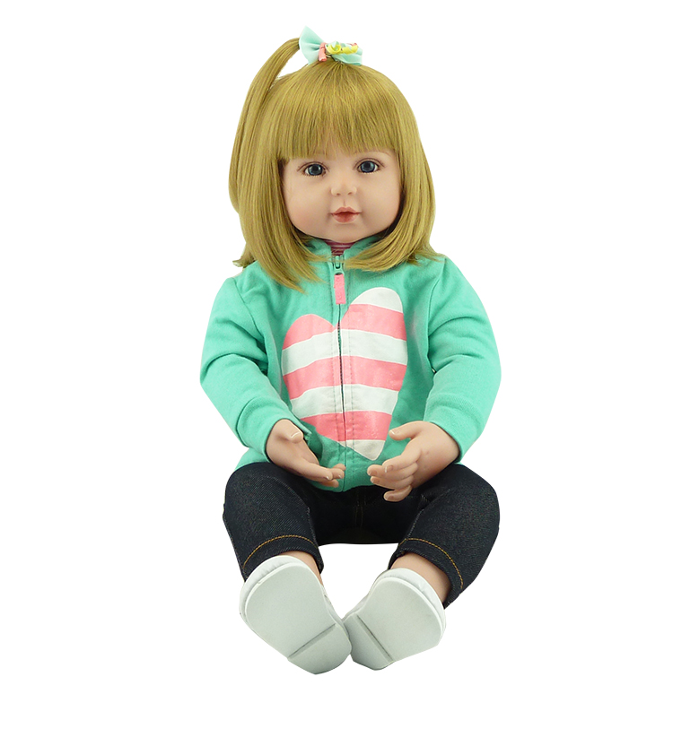 55cm Soft Silicone Reborn Baby Doll Toys Princess Babies Dolls With Gold Hair Kids Birthday Christmas Gift Girls Brinquedos silicone reborn baby doll toy lifelike reborn baby dolls children birthday christmas gift toys for girls brinquedos with swaddle