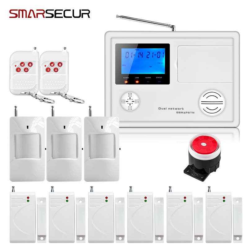 Smarsecur LCD Wireless Wired  GSM PSTN Alarm Keypad Security Alarm System With Pir Motion Sensors bruglar system for wireless smoke fire detector for wireless for touch keypad panel wifi gsm home security burglar voice alarm system