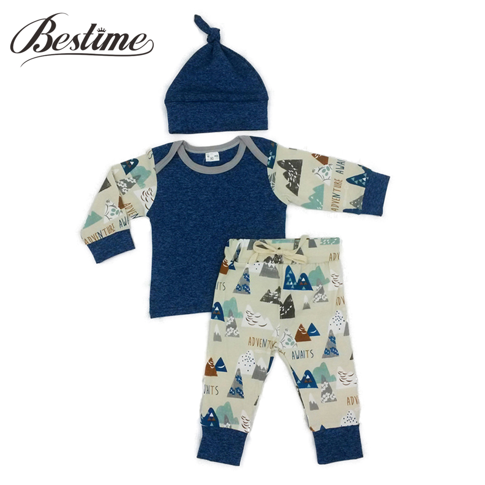 3PCS Autumn Baby Boy Clothes Newborn Outfits Cotton Baby Set Long Sleeve Baby Shirt + Pants Sets for Infant Clothing he hello enjoy baby rompers long sleeve cotton baby infant autumn animal newborn baby clothes romper hat pants 3pcs clothing set