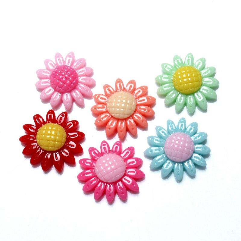 Si 50 Uds resina mixta sol flor decoración perlas artesanales cabujón plano Scrapbooking adornos Kawaii Diy Accesorios