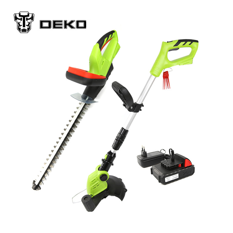 DEKO 2 in 1 20V Li-ion Battery Cordless Grass Trimmer & Cordless Hedge Trimmer Garden Tool Set hight quality 2 in 1 combo lawn mower li ion rechargeable hedge trimmer grass cutter cordless east garden power tool 3 colors