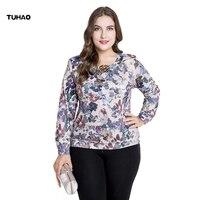 TUHAO Vintage Print Floral Female Long Sleeve Blouse 2018 Autumn Winter Plus Size 4XL 5XL Middle