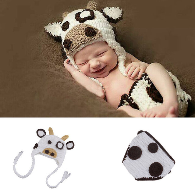 infant toddler cow costume Baby photography accessories Knit Hat and Diaper cover outfits baby photo studio  sc 1 st  AliExpress.com & infant toddler cow costume Baby photography accessories Knit Hat and ...