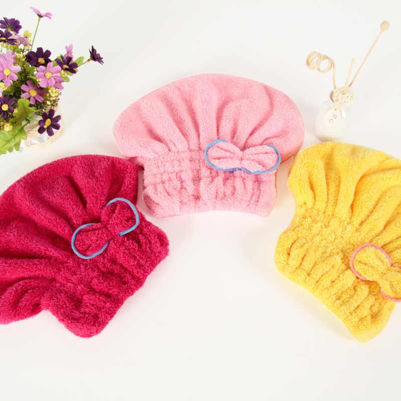 4 kolory z mikrofibry stałe szybko suche włosy Turban do włosów kapelusz panie dziewczyny kobiety czapka ręcznik kąpielowy suszenie chusta na głowę ręcznik