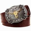 Fashion Men's leather belt bull metal buckle Golden Bull Tau belts punk rock style trend Apparel Accessories women belt