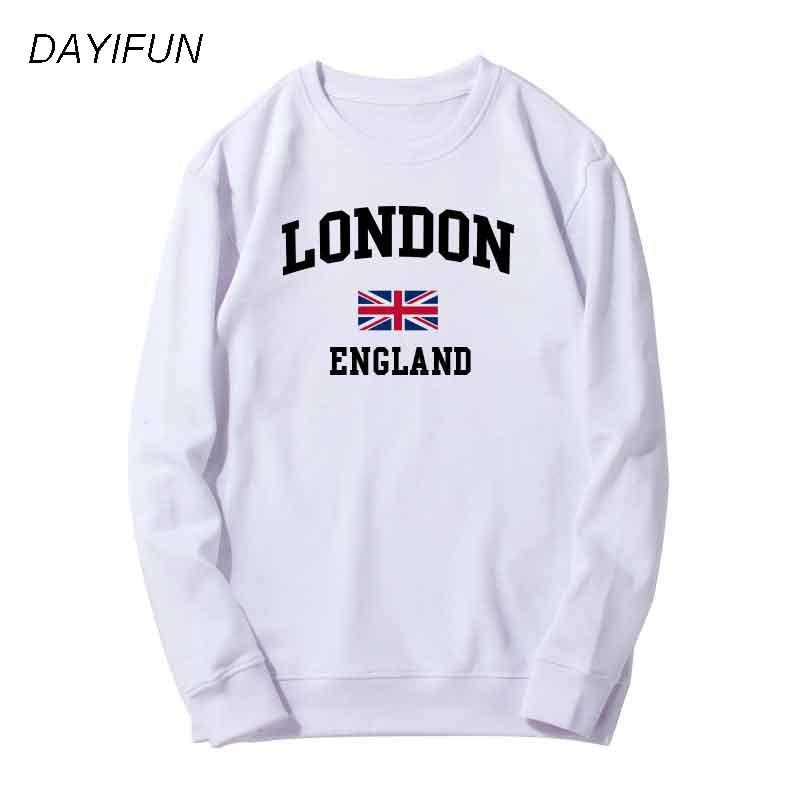 DAYIFUN 2018 New Autumn Cotton  Streetwear Sweatshirt Brand Hoodies Woman's Sweatshirt Winter London Flag Print Hoodies WD005