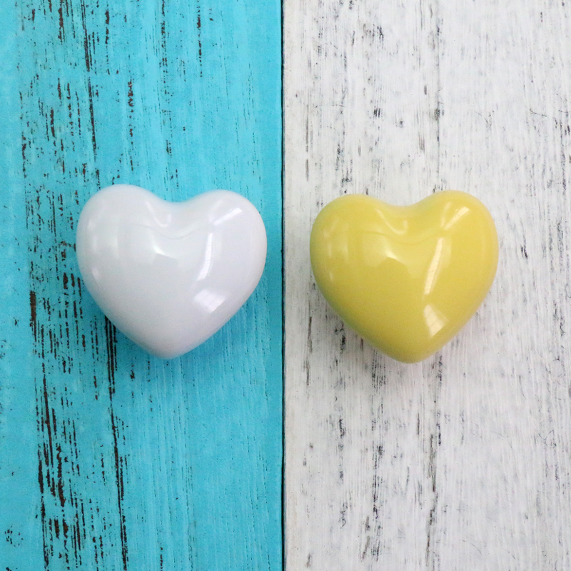 10x Porcelain White Pink Yellow blue heart cabinet knob Heart Ceramic Cabinet Drawer Kitchen Cupboard Wardrobe Pull Handle in Cabinet Pulls from Home Improvement